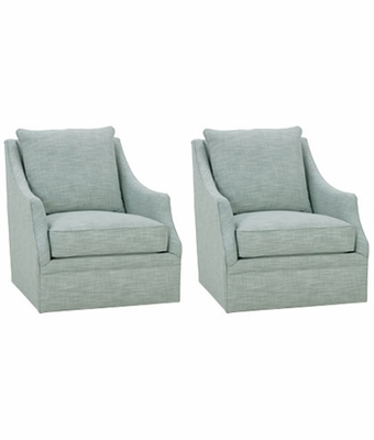Set Of 2 Darcy Designer Style Living Room Swivel Chairs