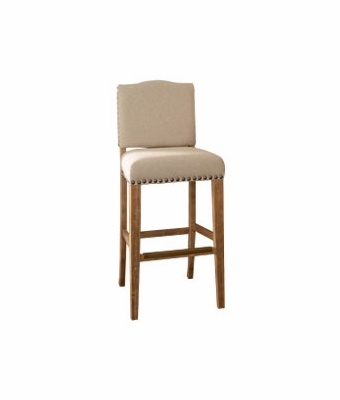 Bar Height Stool With Cream Linen Fabric Club Furniture