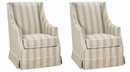 """Set of 2 Ethel """"Designer Style"""" Skirted Slipcovered Accent Chairs"""