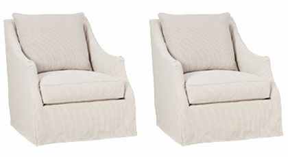"Set 2 Giuliana ""Designer Style"" Swivel Slipcover Accent"