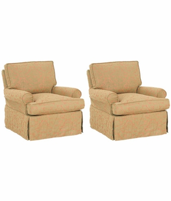 Set Of 2 Slipcovered Swivel Glider Rocking Chairs With