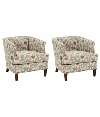 "Set of 2 Lizzie ""Designer Style"" Fabric Small Accent Chairs"
