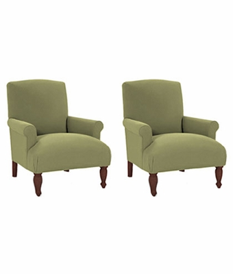 Set of 2 Fabric Upholstered Tight Back Accent Chairs w