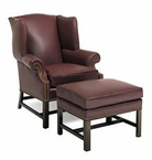 Seton Chippendale Leather Accent Chair