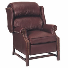 "Calhoun ""Designer Style"" Inset Arm Traditional Chippendale Leather Recliner"