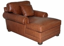 "Sheffield ""Designer Style"" Grand Scale Leather Two Arm Chaise Lounge"
