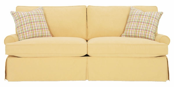 Slipcovered Sofa W/ Low Profile Roll Arms & Skirted Base