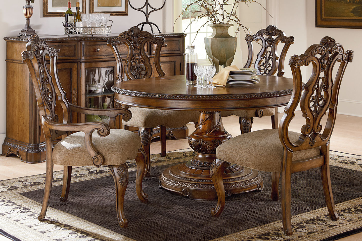 Fine Dining Furniture Stanbury Traditional Round To Oval Fine Dining