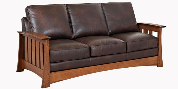 Leather Mission Style Queen Sleeper Sofa
