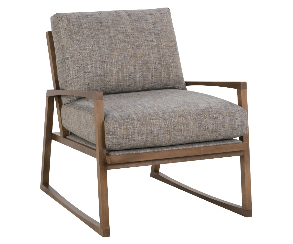 Modern wood chair with arms -  Modern Wood Frame Fabric Accent Chair Clubfurniture