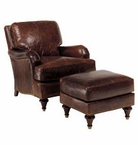 Wesley English Arm Leather Accent Chair