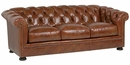 "Thurston ""Designer Style"" Chesterfield Style Three Seat Button Tufted Leather Sofa"