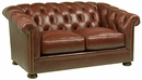 "Thurston ""Designer Style"" Chesterfield Style Tufted Leather Loveseat"