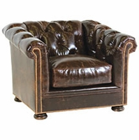 "Thurston ""Designer Style"" Leather Chesterfield Tufted Chair"