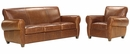 "Tribeca ""Designer Style"" Rustic Leather Furniture Sleeper Sofa & Recliner Set"