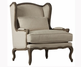 "Valentina ""Quick Ship"" Carved Wood Fabric Accent Chair"