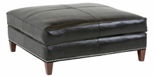 Ward Square Leather Cocktail Ottoman With Nailhead Trim