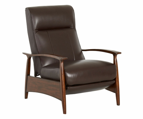 Warner Mid-Century Modern Tight Back Leather Recliner