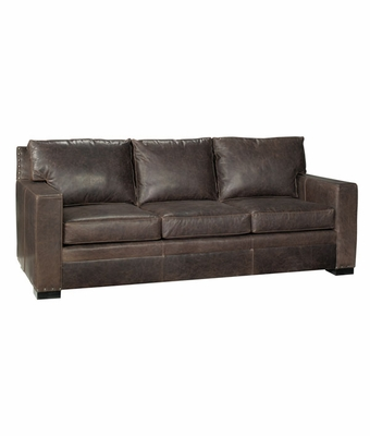 "Wellington ""Designer Style"" Square Arm Leather Couch"