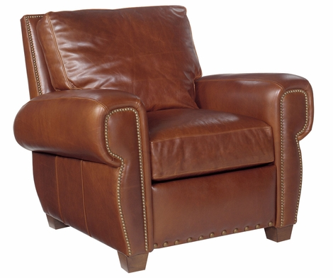 Weston Reclining Chair Leather With Nailhead Trim