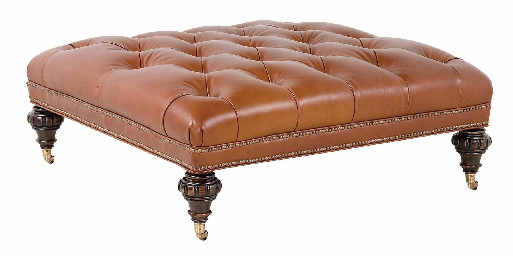 Large Square Traditional Tufted Leather Ottoman