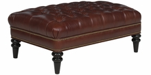 Worthington Leather Button Tufted Bench With Nailhead Trim