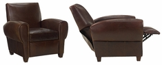 "Zachary ""Designer Style"" Reclining Leather Club Chair"