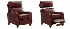 Zane English Arm Leather Recliner With Pop-Up Headrest