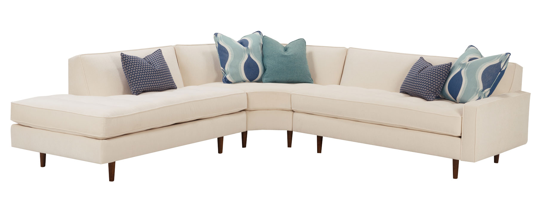 ^ Zoey Mid-entury Modern Sectional - Fabric Sectional Sofas