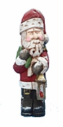 Carved Santa Claus with Christmas Sack and lantern