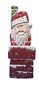Chimney Santa Claus Wood Carving
