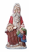 Wooden Santa Claus Figure with Child #14054