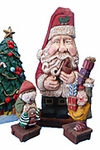 Santa Claus with tobacco pipe and Elf #16016