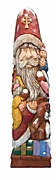 Santa Claus woodcarving with Children #14060