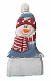 Wooden Folk Art Patriotic Snowman Decoration #16030