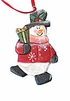Wood Folk Art Snowman Ornament