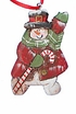 Wood Snowman Fok Art Ornament #13183