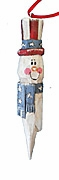 Wood Snowman Patriotic Christmas Tree Ornament