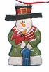 Wood snowman folk art ornament