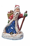 Wooden Santa Claus Carving with Staff #14082