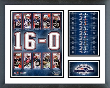 2007 Patriots 16-0 Undefeated Season Framed Milestones & Memories