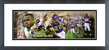 Adrian Peterson 2008 Framed / Double Matted Photoramic