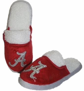 Alabama 2012 Womens Team Color Sherpa Glitter Slippers