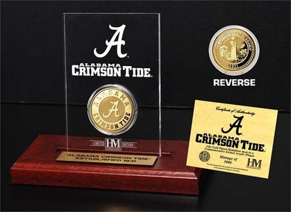 Alabama Crimson Tide University of Alabama 24KT Gold Coin Etched Acrylic