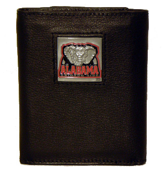 Alabama Black Leather Trifold Wallet (F)
