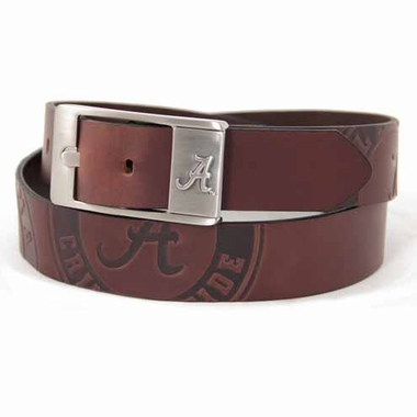 Alabama Brown Leather Brandished Belt
