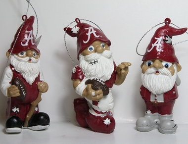 Alabama Crimson Tide 2012 Gnome 3 Pack Ornament Set