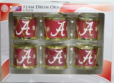 Alabama Crimson Tide 2012 Plastic Drum 6 Pack Ornament Set