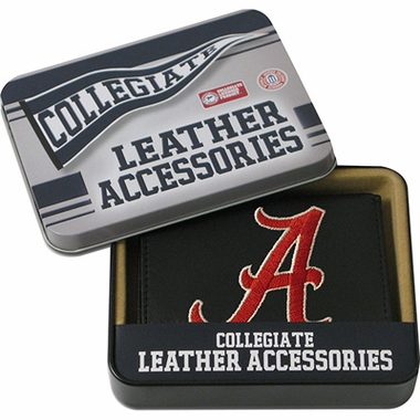 Alabama Embroidered Leather Tri-Fold Wallet