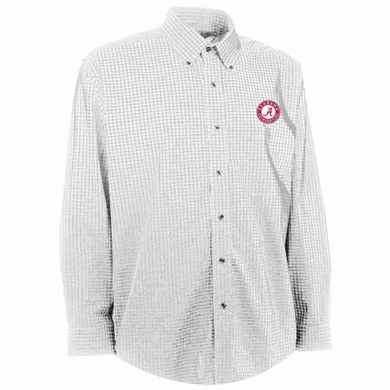 Alabama Mens Esteem Check Pattern Button Down Dress Shirt (Color: White)